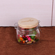 Home Storage mason Engraving wooden lid Jar 500ml Glass Food Container with Metal Clip