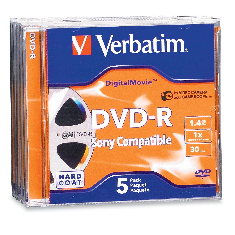 Get Quotations Verbatim Mini DVD R DigitalMovie 14GB 1X 5pk Jewel Case Blister Discontinued By