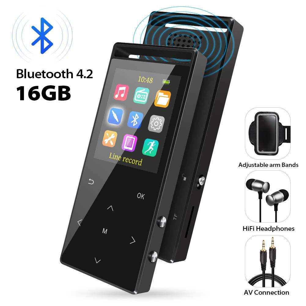 MP3 Player with Bluetooth, 16GB Portable Digital Music Player with FM Radio/Recorder, HiFi Lossless Sound Quality, Music Direct Recording ,Expandable up to 128GB TF Card, with Armband, Black