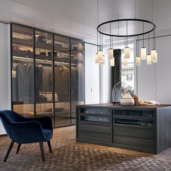 Luxury Custom Steel Framed Glass Doors Walk In Closet Wardrobe