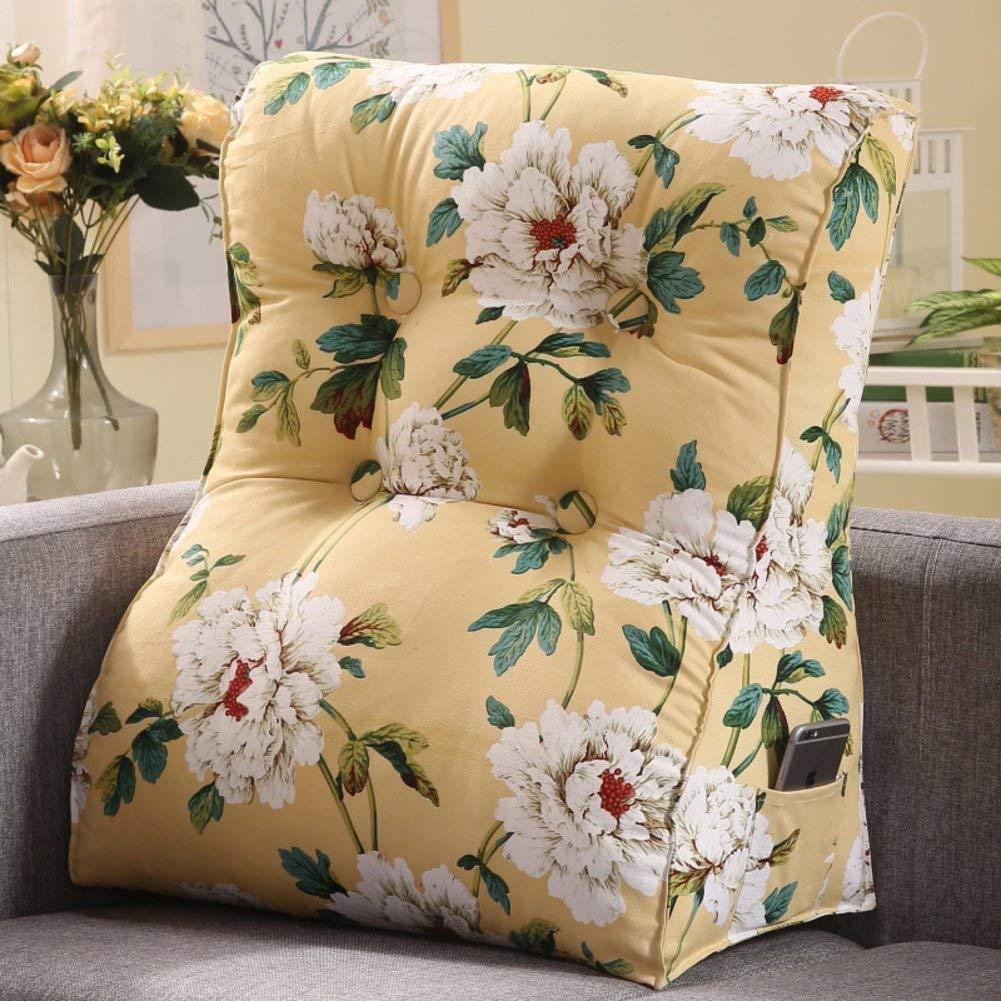 DW&HX Sofa Triangular wedge,Height Thicken Stereo Back cushion Neck Back cushion Detachable bedside Cushion-M 60x55x30cm(24x22x12inch)