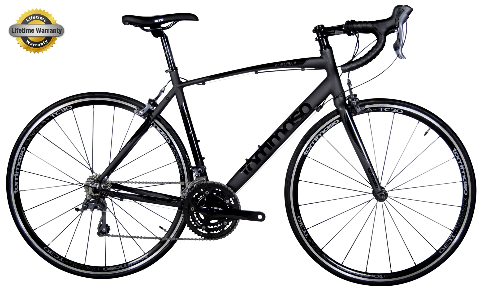Tommaso Forcella - Bike Of The Month - Endurance Aluminum Road Bike, Carbon Fork, Shimano Claris R2000, 24 Speeds, Aero Wheels, Matte Black, Matte White