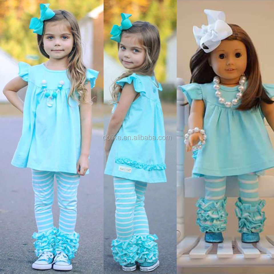 Cute summer fall outfits Doll and me clothes Ruffle boutique clothing Baby clothes clothing set