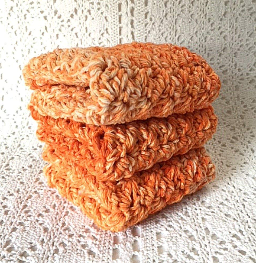 Handmade Cotton Kitchen Dish Cloths Tangerine Orange Set of 3 Eco Friendly Wash Cloths Crochet Dishcloths