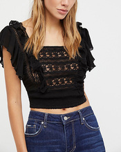 Women Sexy Lace Trim Ruffle Sleeve Backless Crop Top