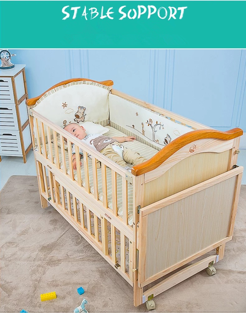 New Zealand Imported Pine Wooden Baby Cribs