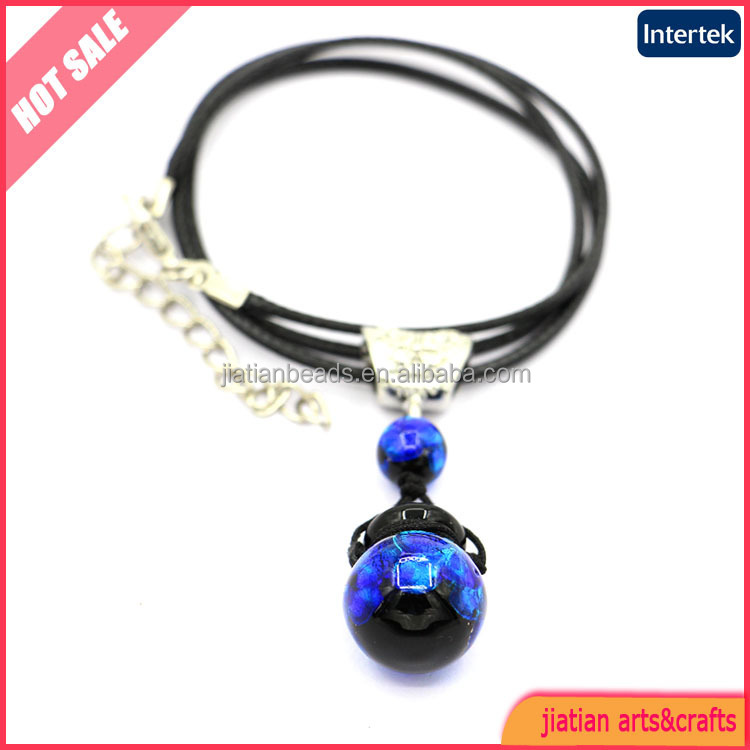 14mm handmade glass perfume bottle necklace with blue dotted silver foil
