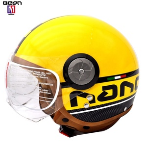 2019 BEON vintage yellow open face motorcycle helmet ECE approved moto Scooter bike helmet with leather for adults man and woman
