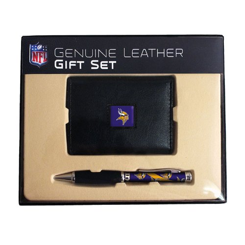 Get Quotations · NFL Minnesota Vikings Leather Tri-Fold Wallet   Comfort  Grip Pen Gift Set 87c529de2