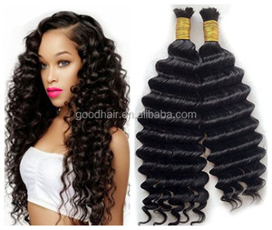 Natural Color No Weft Brazilian Deep Wave Human Braiding Hair Bulk Remy Crochet Braids Human Hair Can Be Dyed