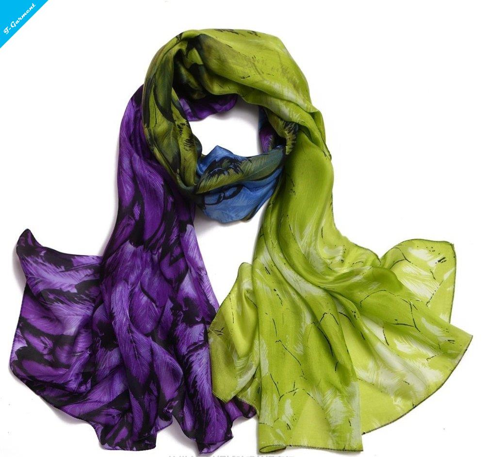 Summer Style Thin 180 * 110cm Women Fashion 2 Colors Feather Pattern Print 100% REAL SILK Scarf bandana Wraps shawl ZS71