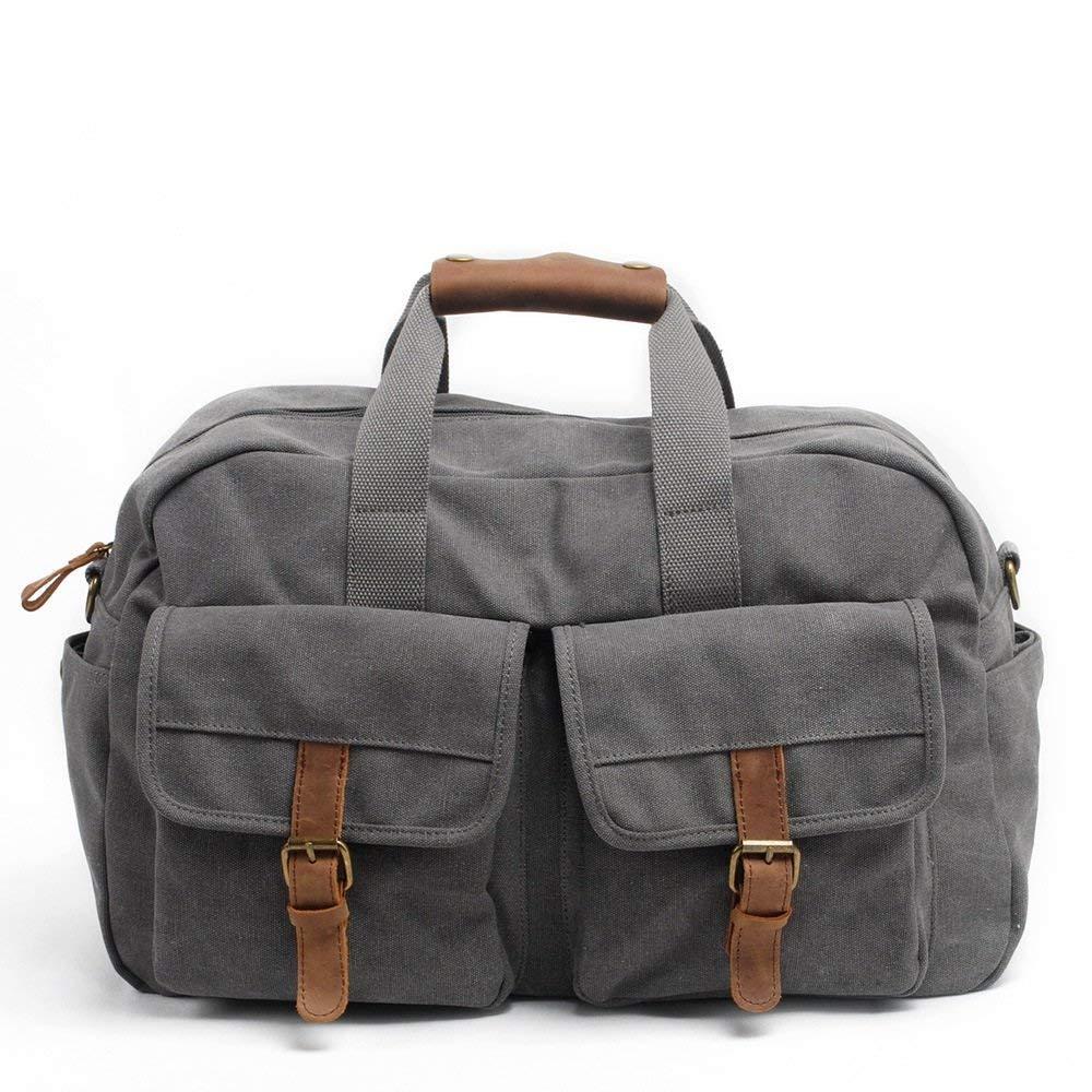 Crystalzhong Canvas Travel Bag, Short Distance Travelling Bag, Large Capacity Travelling Bag, Canvas, Leather Handbag, Single Shoulder Exercise Bag.