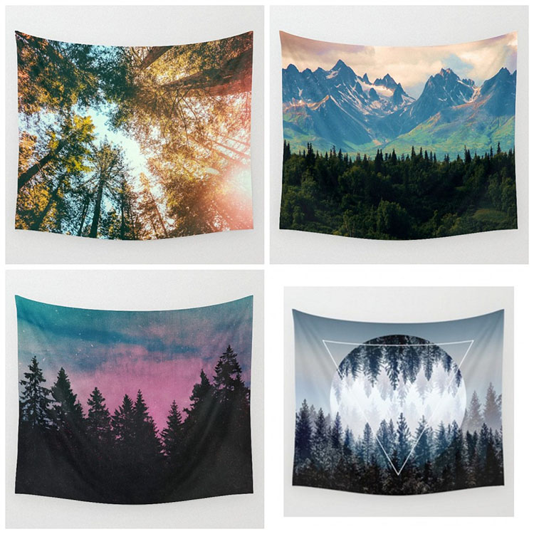 Landscape Ink Painted Printing Home Blending Furnishing Large Wall Hanging Decorate Shawl Square Beach Towel