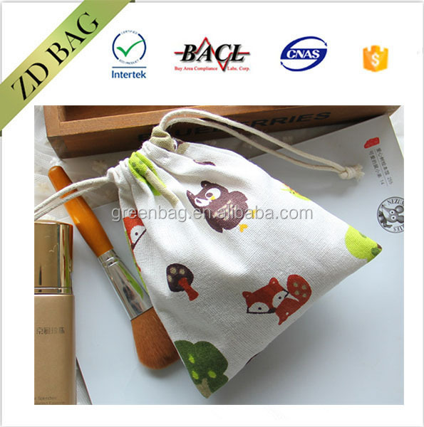 lovely animals pattern canvas drawstring bag promotion