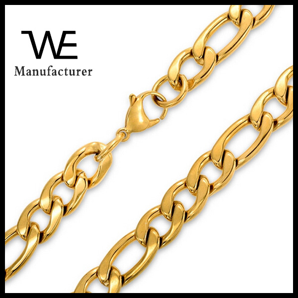 Stainless Steel 24K Solid Gold Plated Mens Figaro Chain Necklace