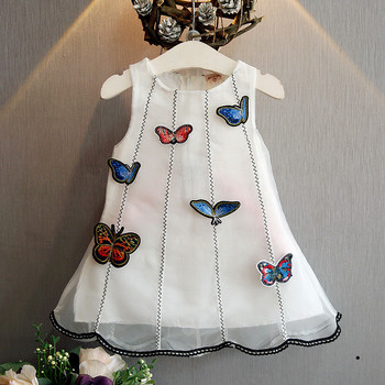 B11340A baby girl fairy embroidery butterfly dress kids girl A line dress