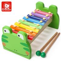 Top bright kids wooden Frog Xylophone Green baby musical instrument set toy 7136