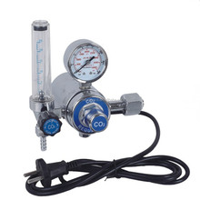 REFULGENCE CO2 HEATER GAS REGULATOR, FLOWMETER HEATER TYPE CO2 REGULATOR, FULL BRASS WITH CHROME PALTED REGULATOR