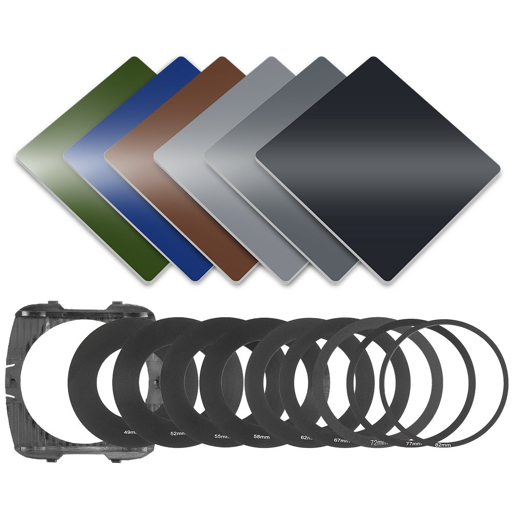 Neewer 49-82MM Full Color Filter Kit: (3)Full ND Filters(ND2, ND4, ND8), (3)Full Color Filters(Green, Orange, Blue), (9)Metal Adapter Rings, (1)Square Filter Holder, (1)Filter Carry Pouch