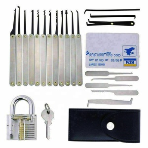 20 Pcs Unlocking Lock Pick Tools Set Key Extractor Transparent Practice Padlocks