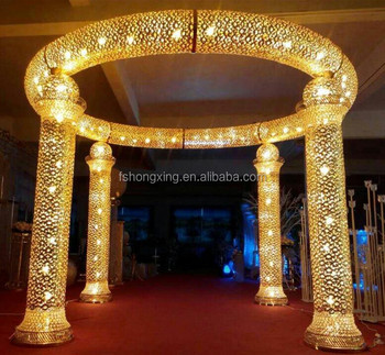 New Design Elegant Hot Lighting Crystal Columns Wedding Mandap Pillar Decoration