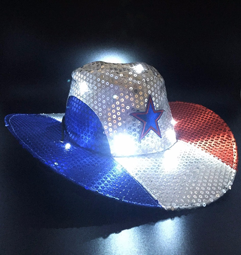 c803a1826a8ae Big Brim Led Light Up Patriotic Cowboy Hat For Party - Buy Light Up ...