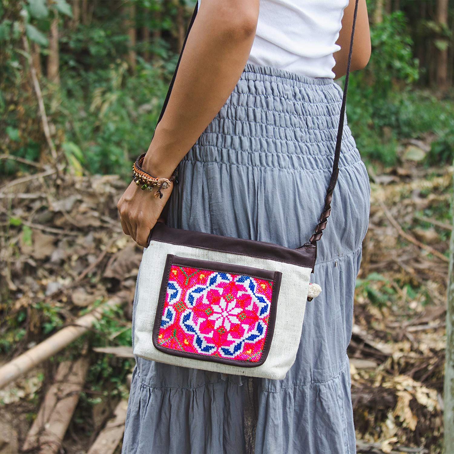 Changnoi Boho Sling Bag for Women, Hmong Crossbody Bag, Vintage White Purse, Hippie Purse for Women, Gift Bag for Her, Gift Purse for Mom