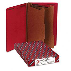 Smead : Pressboard End Tab Folders, Legal, 6-Section, Bright Red, 10/Box -:- Sold as 2 Packs of - 10 - / - Total of 20 Each