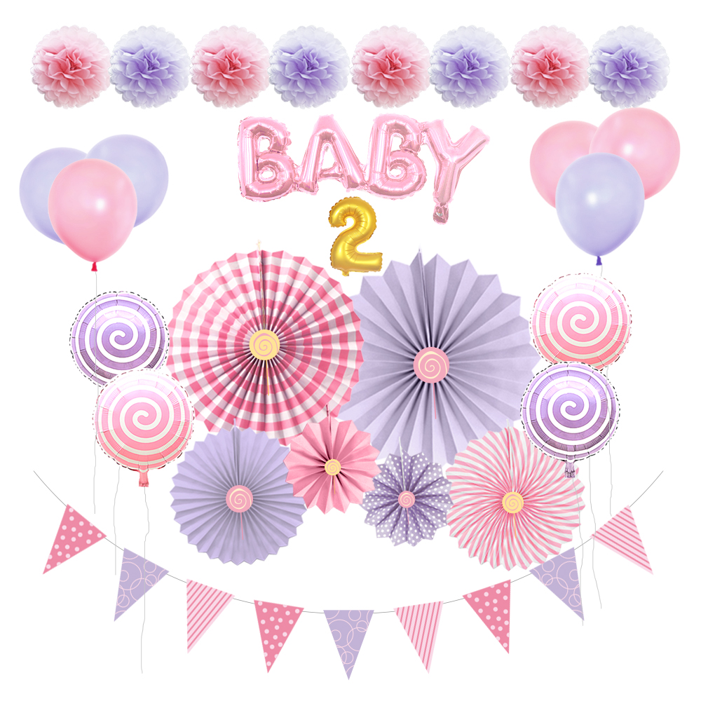 Meilun Hot sale pink It's a girl birthday and baby shower decoration set paper pom poms and paper lantern for girl
