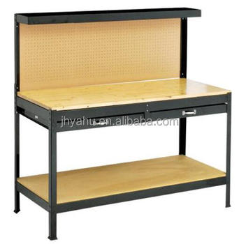 DIY Height Adjustable Wooden Stainless Steel Working Table Wth Drawers In  Workshop
