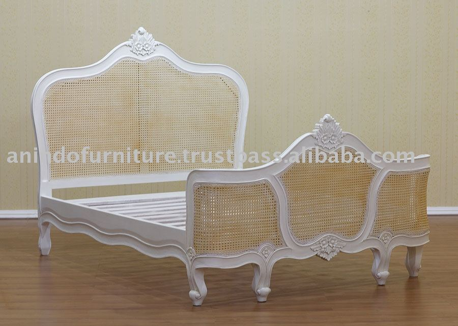 White Painted Furniture - French Bed with Rattan
