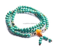 Blue Turquoise 6mm Rosary Mala Prayer Beads Wrap Bracelet