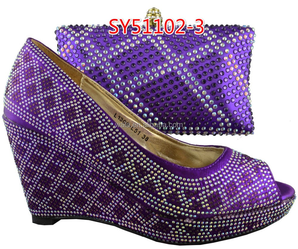 matching 3 clutch shoes bag shoes and rhinestone wedge handbag SY51102 purple and ExCtOAfwWq