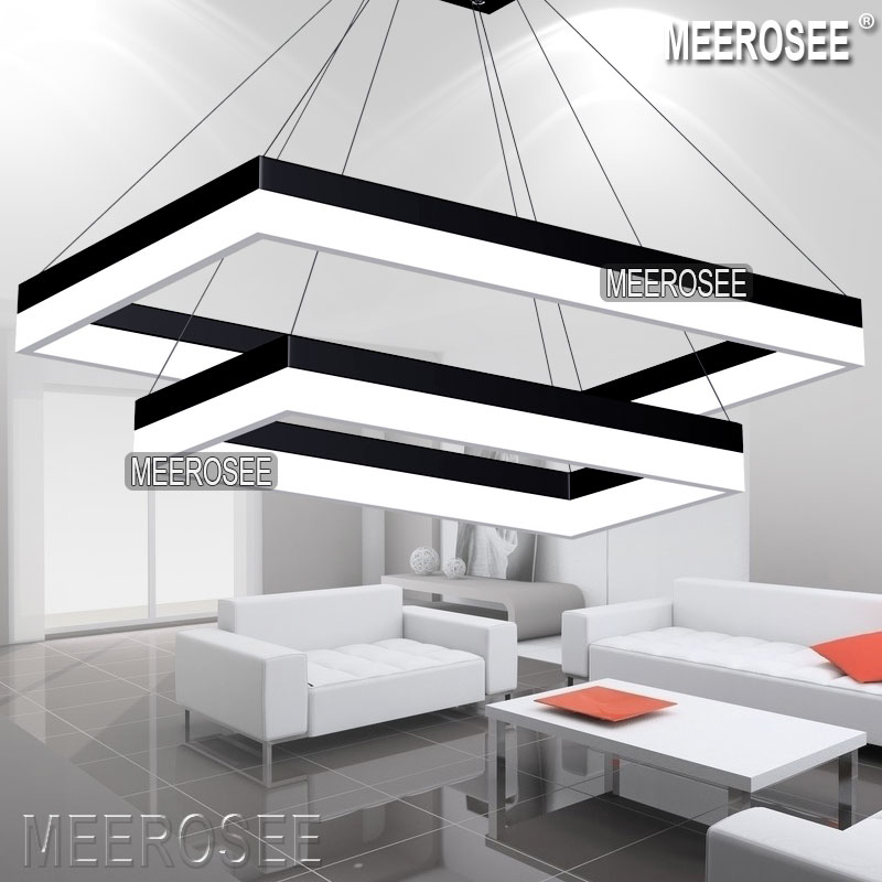 Acrylic Led Pendant Light Modern Rectangle Design Black Suspension Fixture Gold Dining Room Lamp Md5062 View