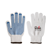Safety work garden knitted glove with blue PVC dots on palm