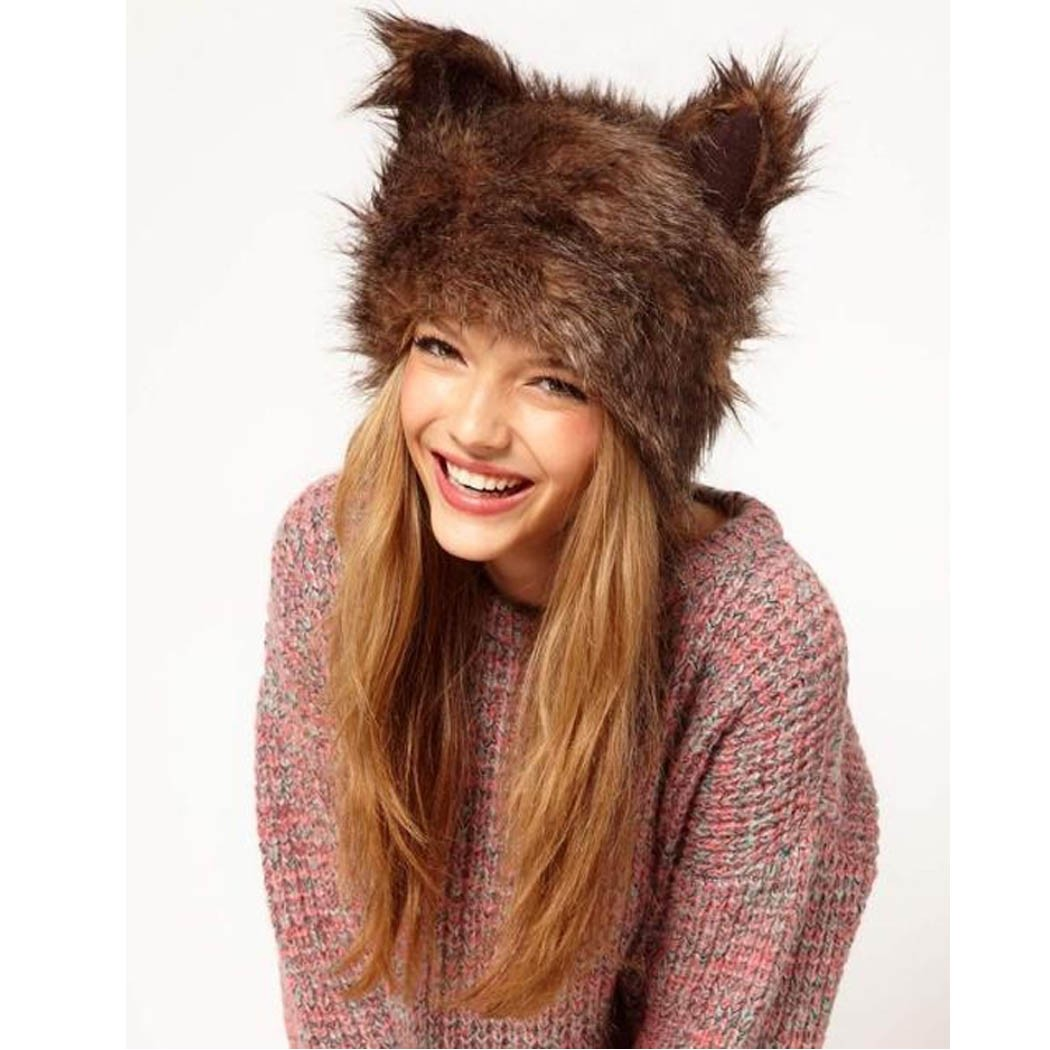 7a7fa52f3dd Get Quotations · New Winter Hats For Women Christmas Bonnet Faux Fur Rabbit  Ears Cap Hat With Ears