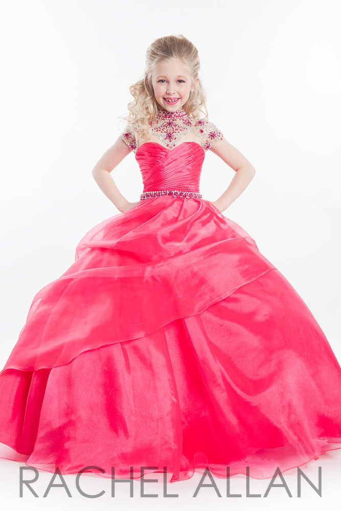 Arco 05 rojo vestidos de las niñas de la flor del cuello alto tamaño ...