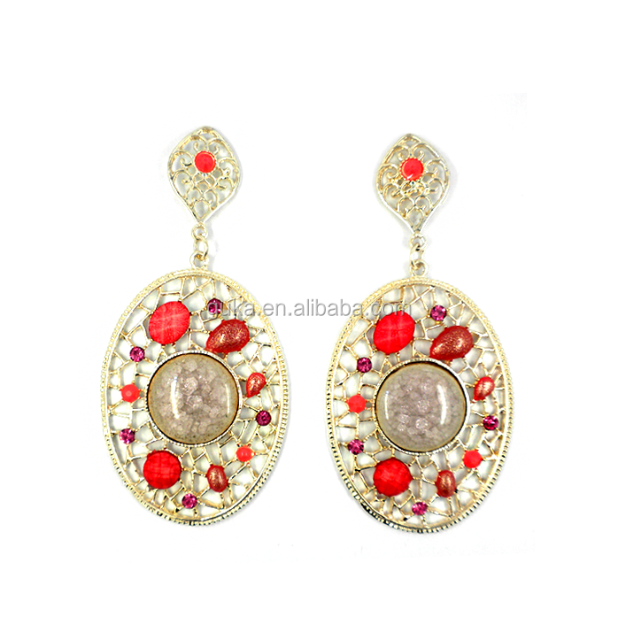 Indian style light weight gold earring with ceramic