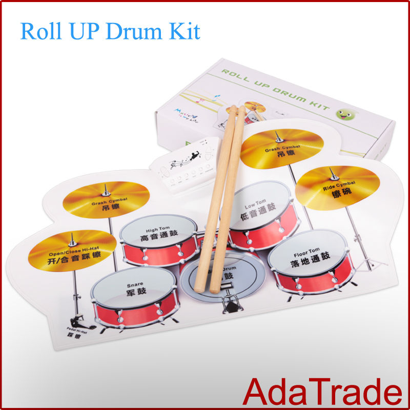 2014 free shipping by post 1 piece portable usb midi roll up drum kit flexible roll up drum. Black Bedroom Furniture Sets. Home Design Ideas