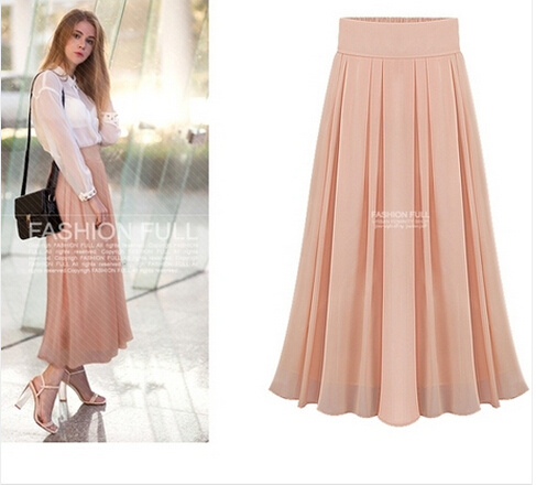 0ed51b531f Get Quotations · 2015 New Summer Style Women Fashion Double Layer Chiffon  Pleated Elastic High Waist long Maxi tulle