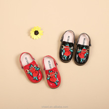 LGLS1014 rose flower nice fashion wholesale slip-on model girl shoes new style kids shoes girl 2018