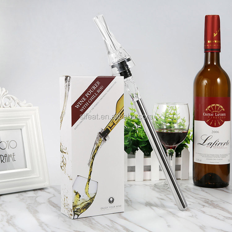 New Fashion Customized Plastic Wine Aerator Pourer with Chill Rod