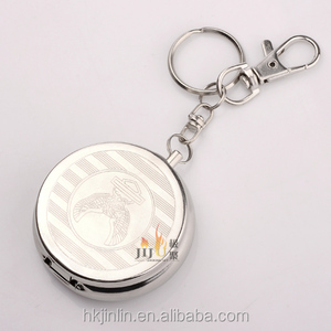 Round Top Selling Key Chain Metal Portable Pocket Ashtray Outdoor Using JL-002S From Yiwu Supplier