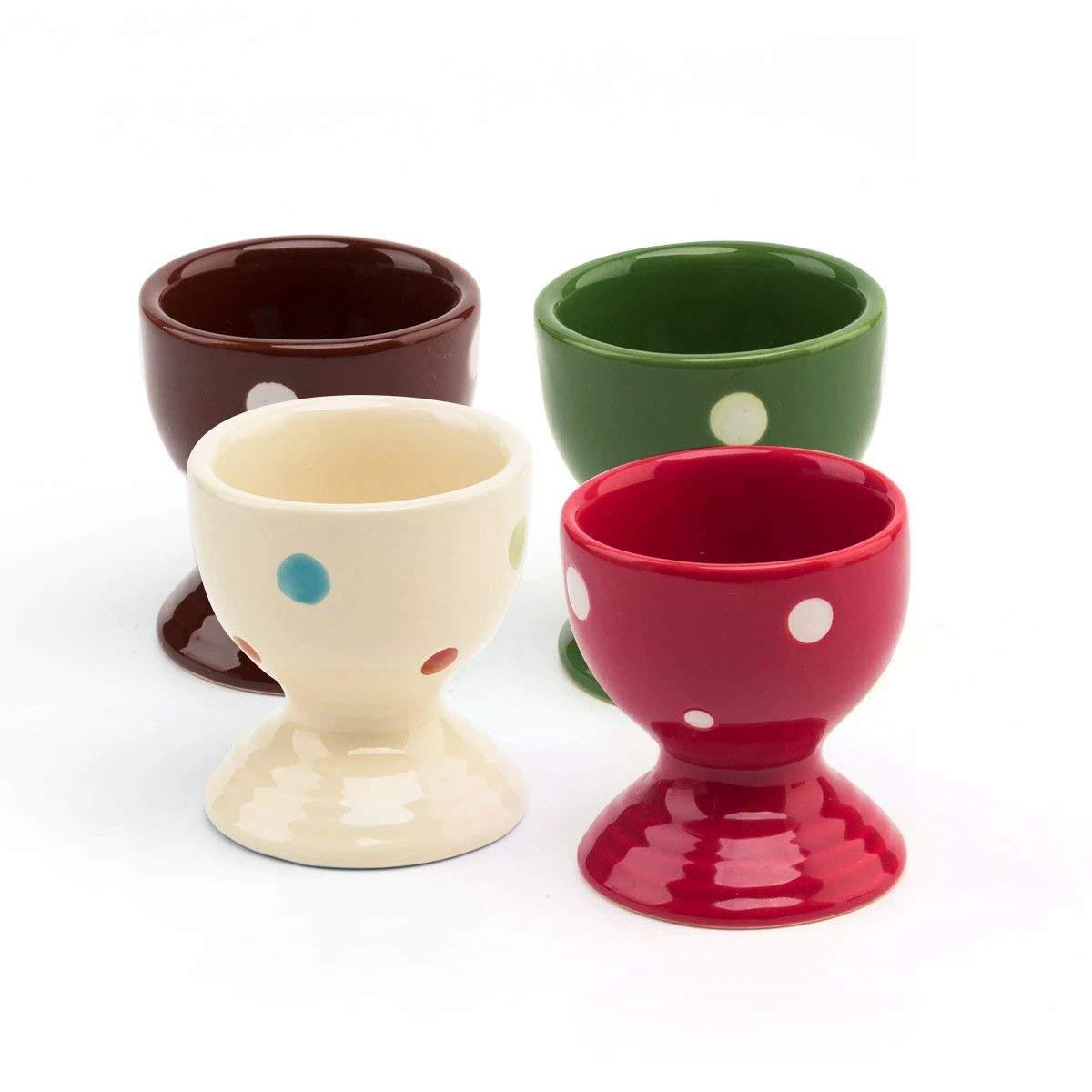 Lofekea Egg Cups Set of Four Ceramic Polka Dot Egg Cups Porcelain Egg Holders Gifts for Kitchen