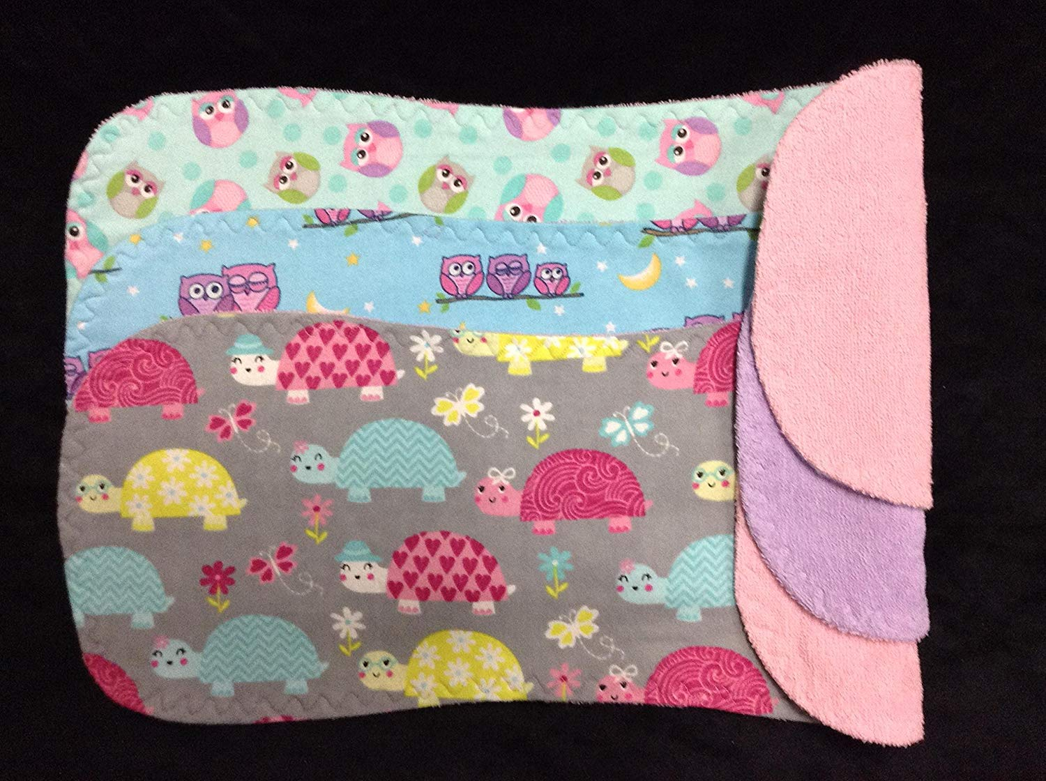 Baby Girl Cotton BURP CLOTHS, TURTLES, OWLS, Set of 3 Large Burp Rags, Absorbent Terry, Soft Flannel, Baby Gift, BABY SHOWER, Pink, Blue, Aqua Breastfeeding Cloth, Owls burpcloths