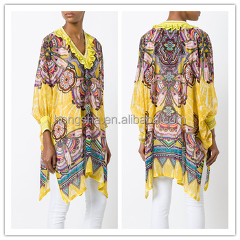 10855b5dcc630e Ruffled Neck Short African Kitenge Dress Designs Women Kaftans Style Kurti  hsk2200
