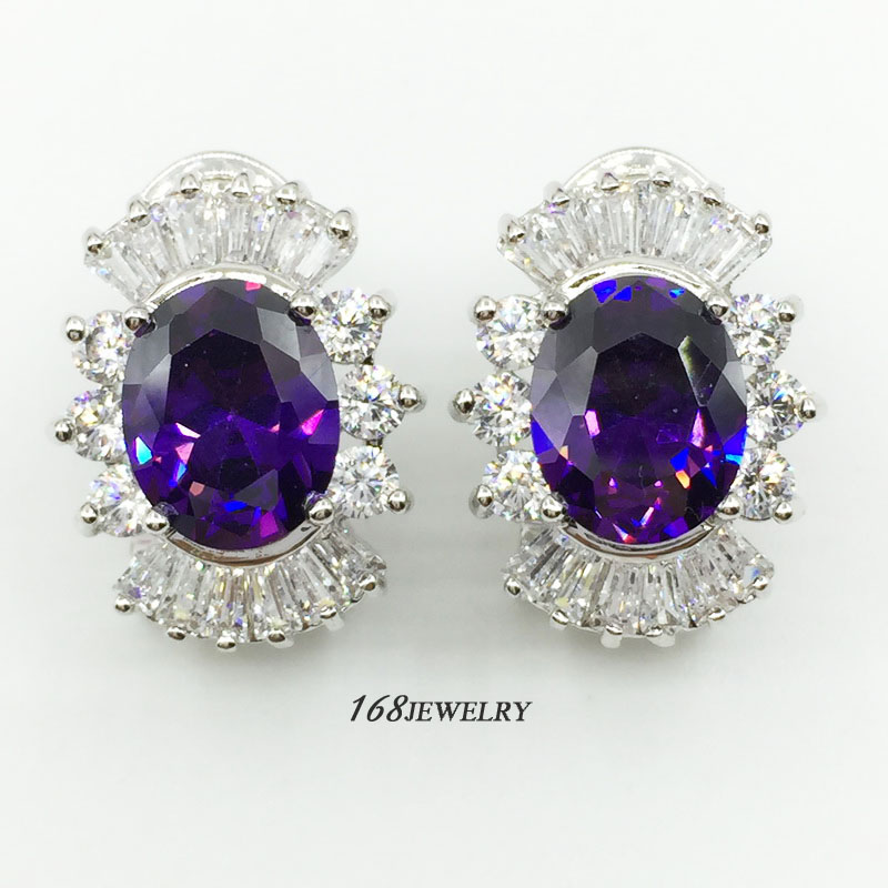 exhilarating EARRING size 15*20mm  silver 18K real white gold plated white topaz  purple amethyst  LK1656  168JEWELRY
