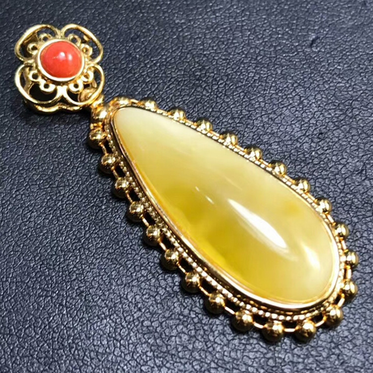wholesale trendy yellow amber natural gemstone pendant 925 sterling silver fine jewellery for women