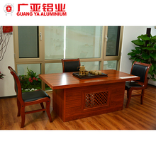 High end wooden grain tea table and chairs set chinese traditional office business aluminum table