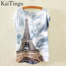 KaiTingu 2016 Brand New Fashion Spring Summer Harajuku Short Sleeve T Shirt Women Tops Eiffel Tower Printed T-shirt White Cloth